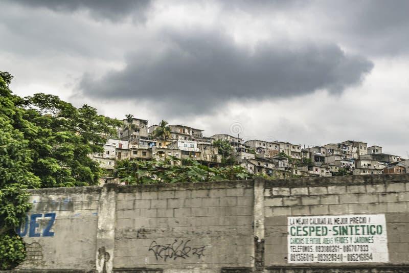 Poor Neighborhood, Guayaquil, Ecuador. GUAYAQUIL, ECUADOR, MAY - 2016 - Populated poor neighborhood at top of hill in Guayaquil city, Ecuador royalty free stock images