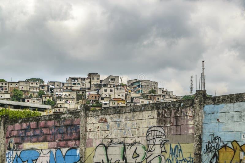 Poor Neighborhood, Guayaquil, Ecuador. Populated poor neighborhood at top of hill in Guayaquil city, Ecuador stock photos