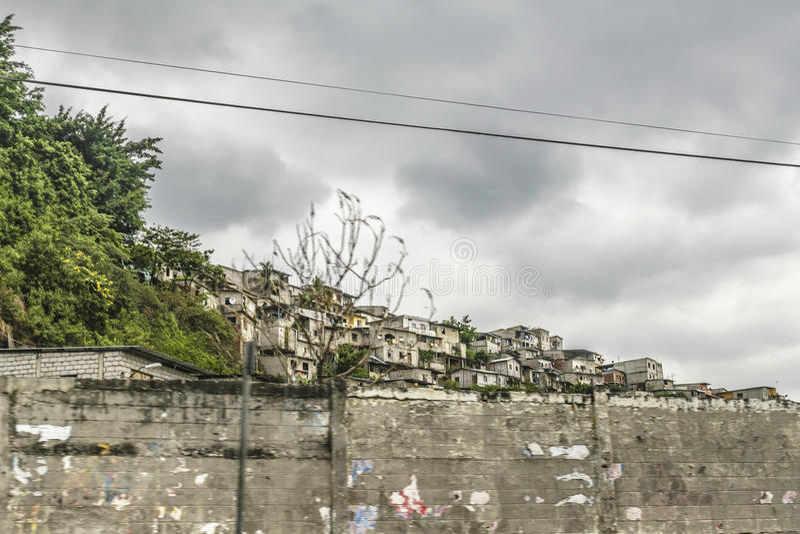 Poor Neighborhood, Guayaquil, Ecuador. Populated poor neighborhood at top of hill in Guayaquil city, Ecuador stock photography