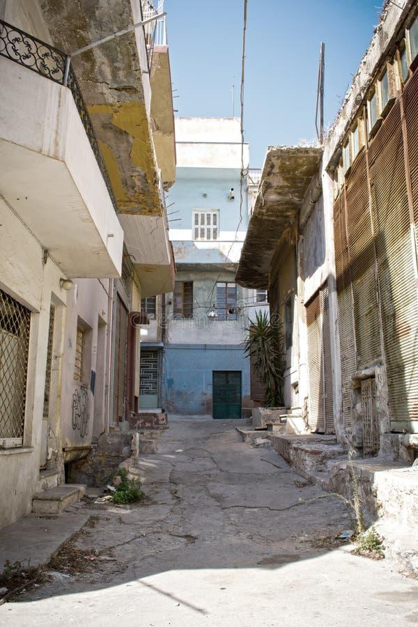 Poor neighborhood. Photo of old buildings in a poor neighborhood stock photo