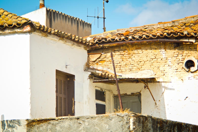 Poor neighborhood. Photo of old houses in a poor neighborhood royalty free stock images