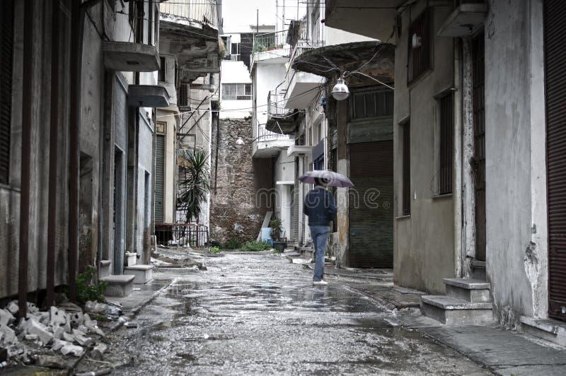 Poor neighborhood. Rainy day in a poor neighborhood, Piraeus - Greece royalty free stock images