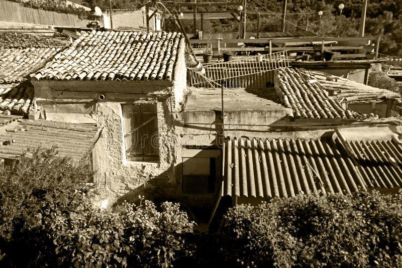 Poor neighborhood. View of old buildings in a poor neighborhood royalty free stock image