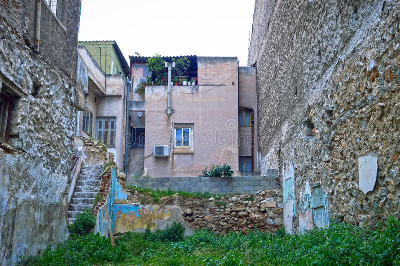Poor neighborhood. View of old buildings in a poor neighborhood, Athens - Greece stock images