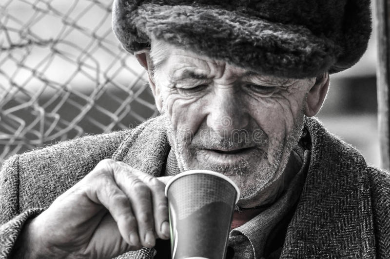 Poor old man royalty free stock photo