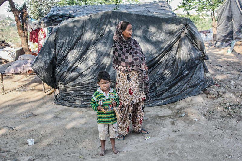 Poor people at their home. Poor people in the slum near Patiala , Punjab India stock image