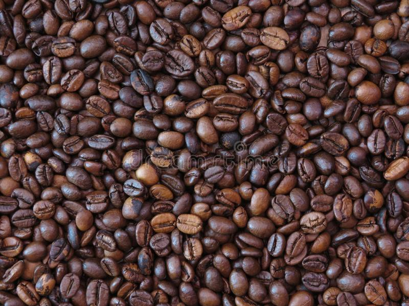 Poor bad quality roasted mixed coffee beans pattern background. Roasted coffee beans background. Space for text stock images