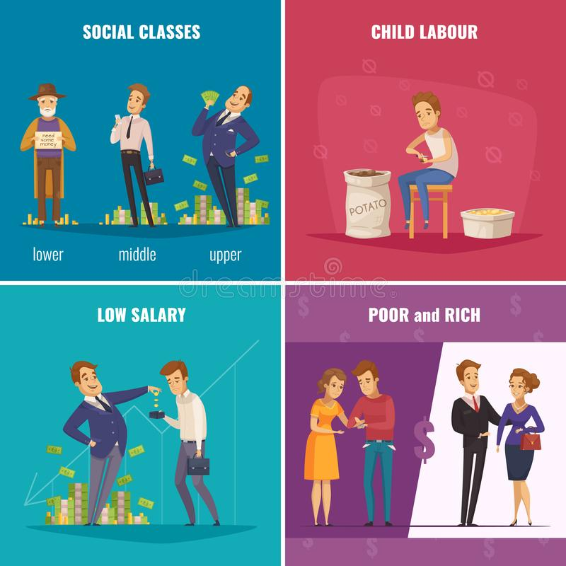 Poor And Rich 2x2 Design Concept. With social classes low salary child labour flat square icons cartoon vector illustration stock illustration