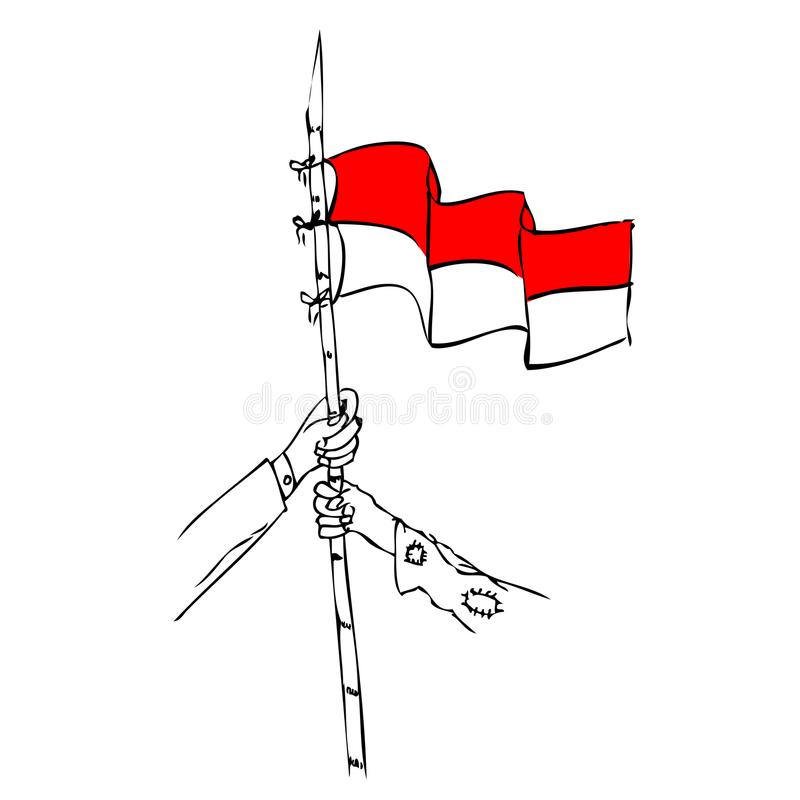 poor and rich man holding sharp bamboo with indonesia flag, element design for indonesia independence day vector illustration