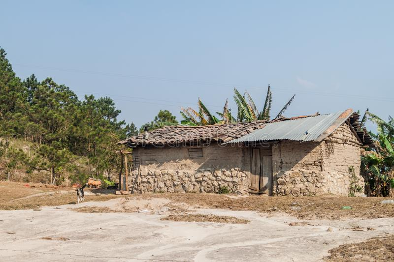 Poor rural house near La Campa village, Hondur royalty free stock photos