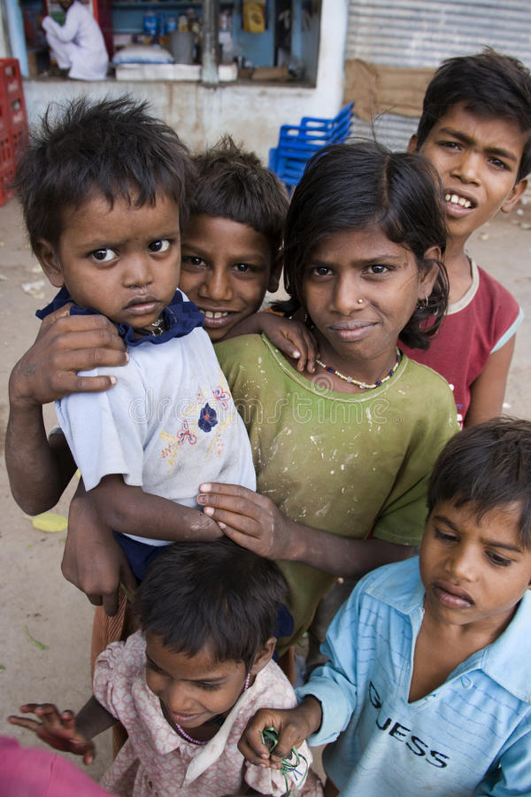 Poor Street Children in India. A group of poor Indian street children in Sonagiri in central India stock photos
