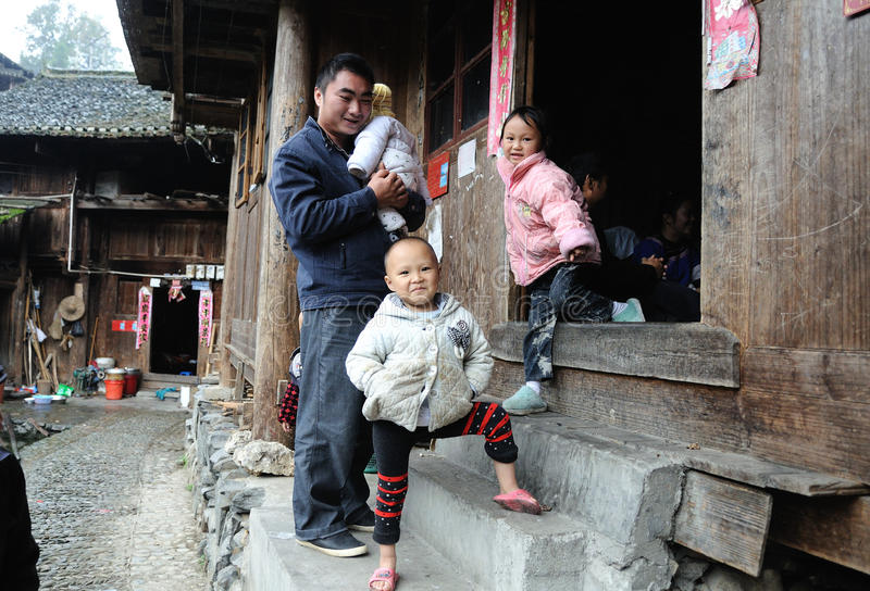 Poor traditional family in the old village in Guizhou, China royalty free stock photography