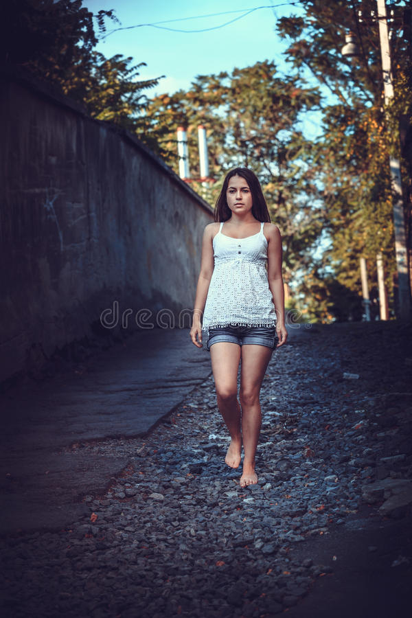 Download Poor woman on the street stock photo. Image of girl, sitting - 43160756