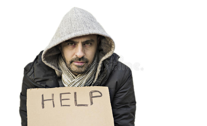 Poor young guy with cardboard sign seeking help stock photos