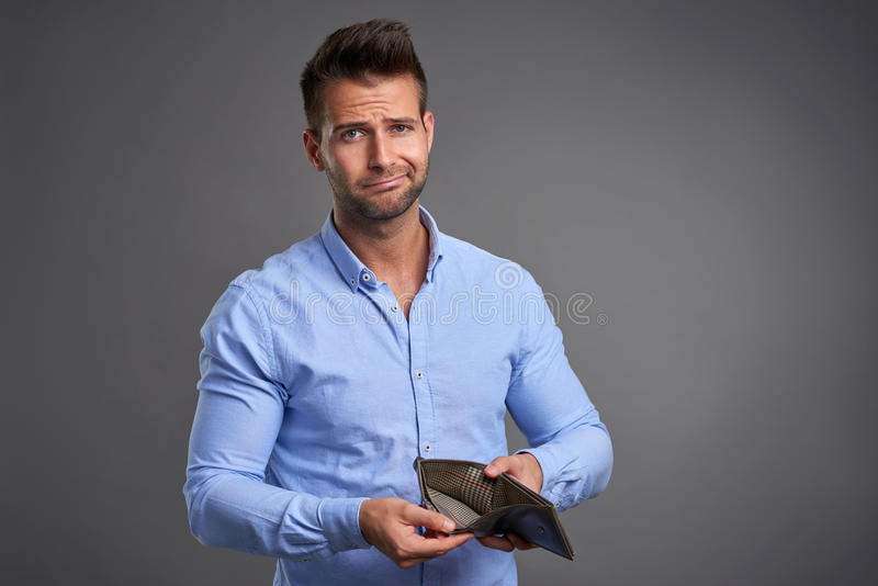 Poor young man stock photo