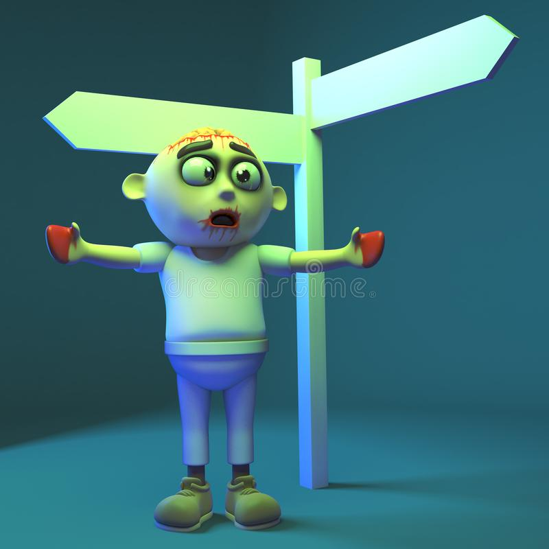Poor zombie monster is lost as the signpost is blank, 3d illustration. Render royalty free illustration