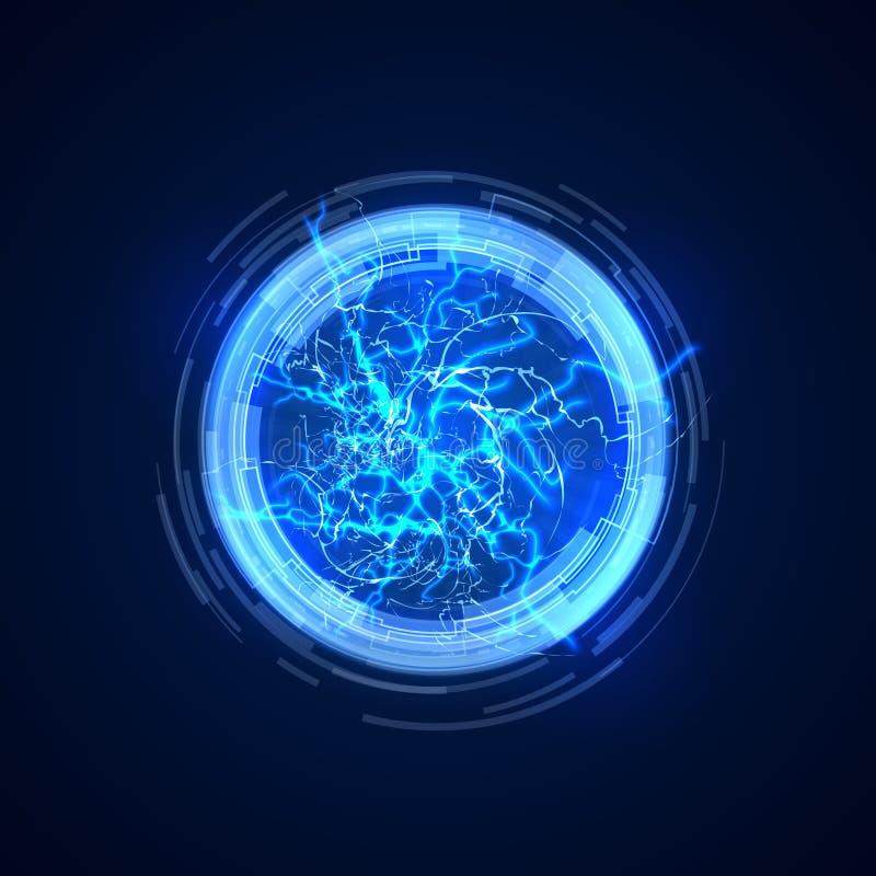 poort Abstracte conceptenachtergrond met elektrische bliksem Toekomstige communicatie vectorillustratie vector illustratie