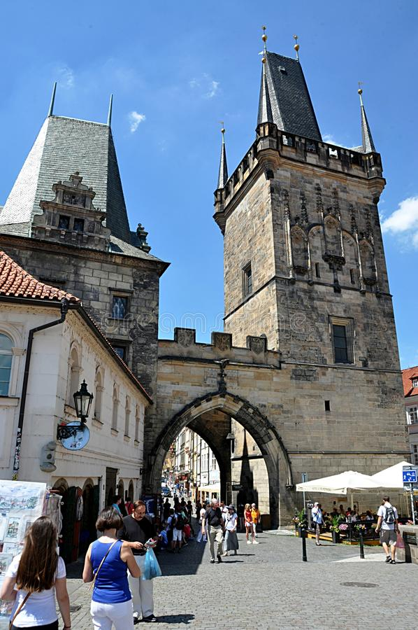 Poort en oude stad Praque, Tsjechische republiek, Europa royalty-vrije stock foto's