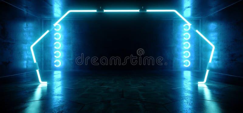 Poort Gestalte gegeven Neon het Gloeien Blauw Trillend Virtueel FI van de Bezinnings Concreet Hall Room Stage Lights Sci van Werk royalty-vrije illustratie
