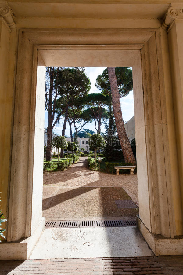 Poort van arcadevilla Giulia, Rome stock afbeeldingen