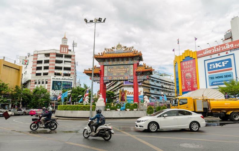 Poort van Chinatown in Bangkok, Thailand stock afbeelding