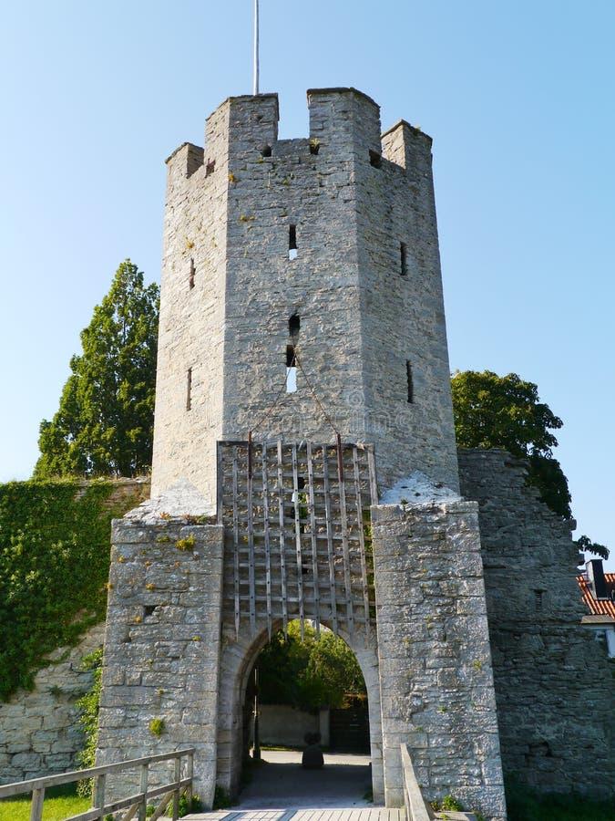 Poort van de stad Visby op Gotland in Zweden stock afbeeldingen
