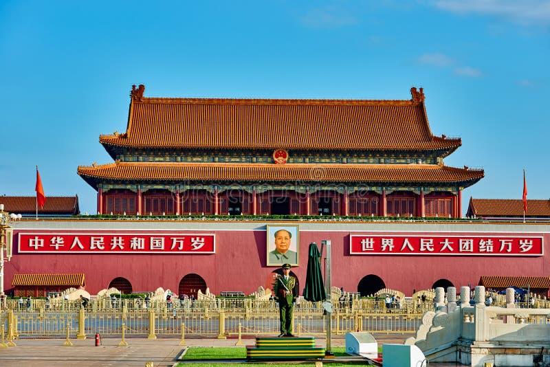 Poort van Hemelse Vrede Verboden Stad BeijingBe royalty-vrije stock afbeelding