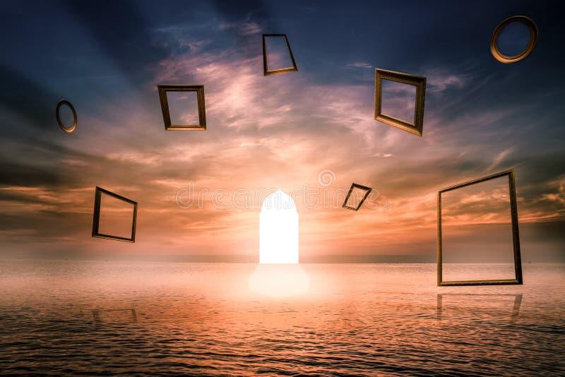 Poort van het leven, Verlicht deursymbool van goede akte, Fantasierijk concept Gebruiks Islamitische bogen met overzeese †Menin vector illustratie