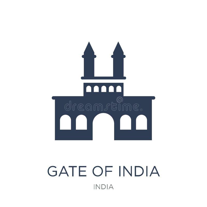 Poort van het pictogram van India In vlakke vectorpoort van het pictogram van India op whi stock illustratie
