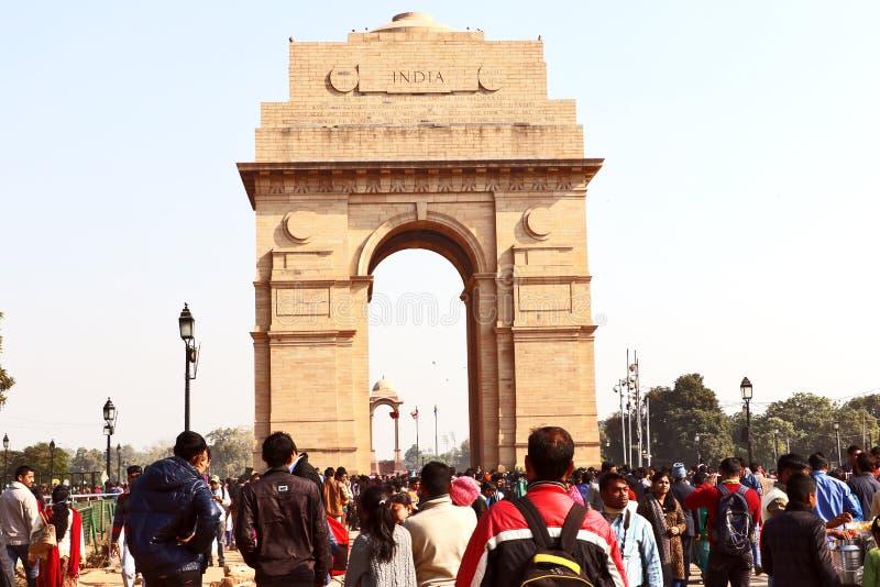 Poort van India, één van de oriëntatiepunten in New Delhi, India Het wordt oorspronkelijk genoemd het Al de Oorlogsgedenkteken va royalty-vrije stock afbeeldingen
