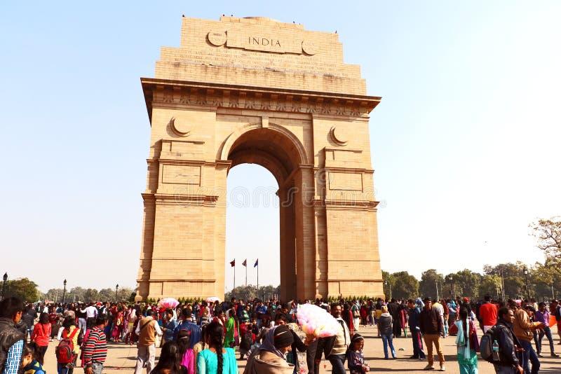 Poort van India, één van de oriëntatiepunten in New Delhi, India Het wordt oorspronkelijk genoemd het Al de Oorlogsgedenkteken va royalty-vrije stock afbeelding
