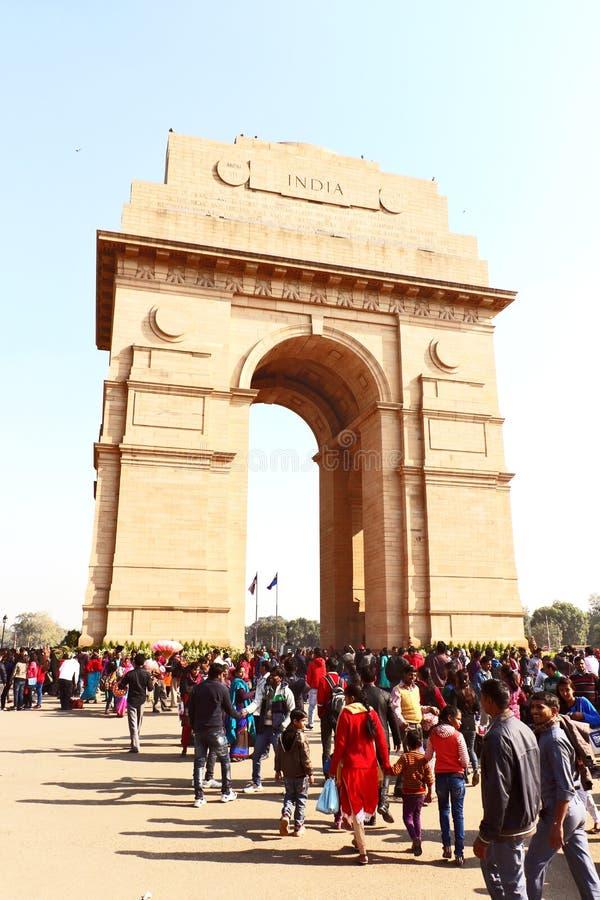 Poort van India, één van de oriëntatiepunten in New Delhi, India Het wordt oorspronkelijk genoemd het Al de Oorlogsgedenkteken va stock foto's