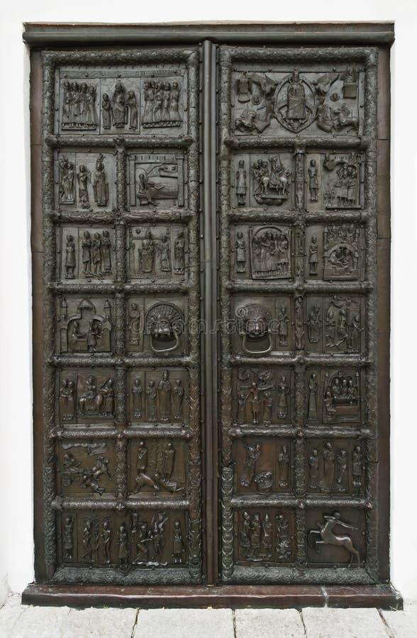 Poort van StSophia-Kathedraal Veliky Novgorod, Rusland stock afbeeldingen