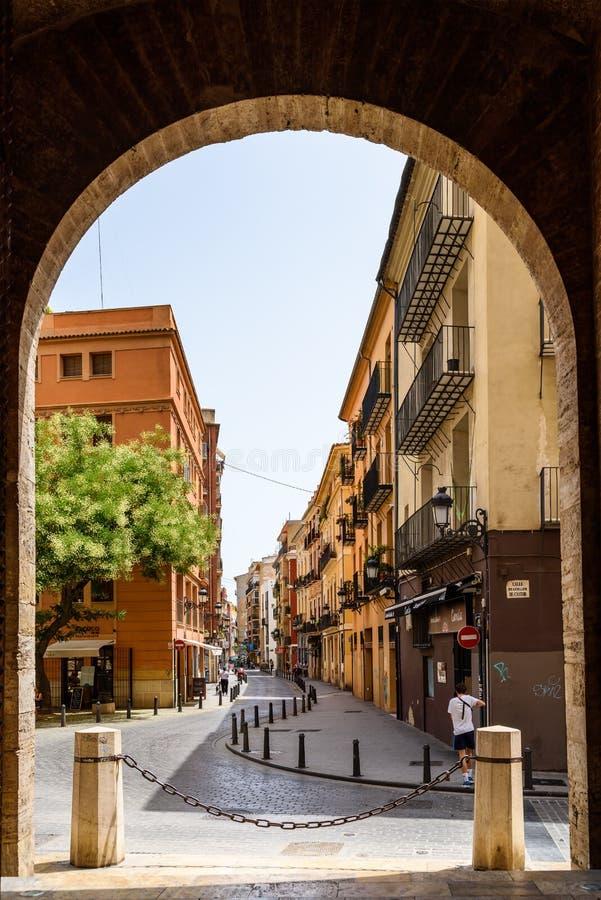 Poort van Torres DE Quart In Valencia stock foto