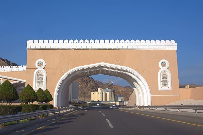 Poorten aan Muttrah bij de zonnige dag, Muscateldruif, Sultanaat van Oman stock foto's