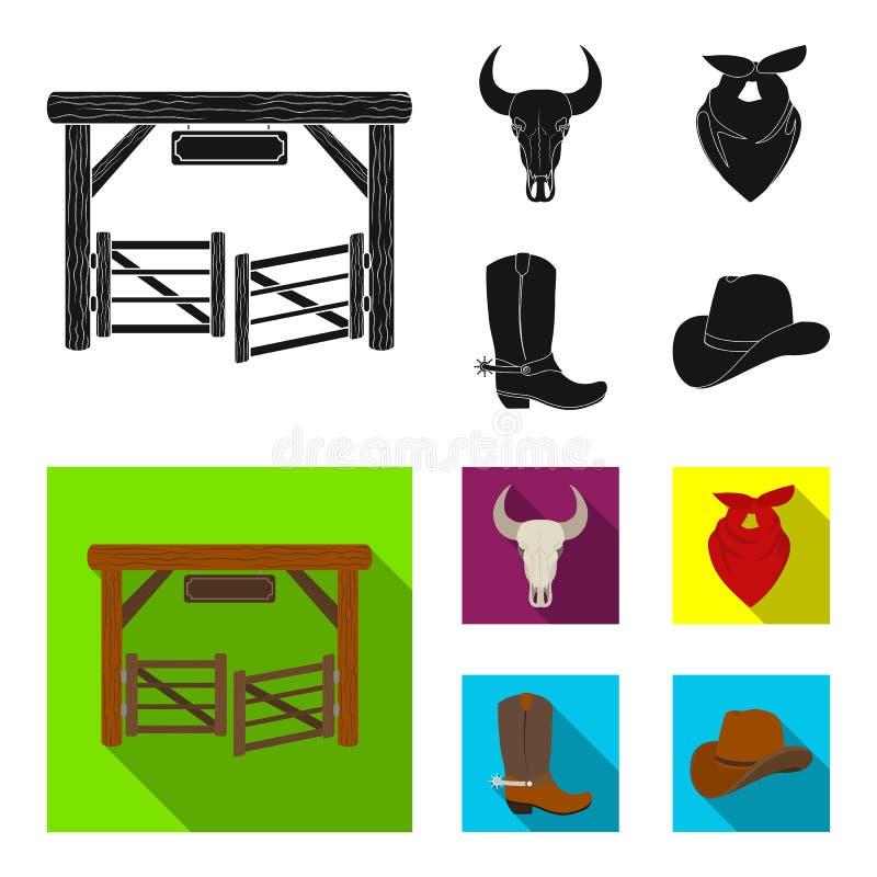 Poorten, een stierenschedel, een sjaal rond zijn hals, laarzen met aansporingen Pictogrammen van de rodeo de vastgestelde inzamel royalty-vrije illustratie