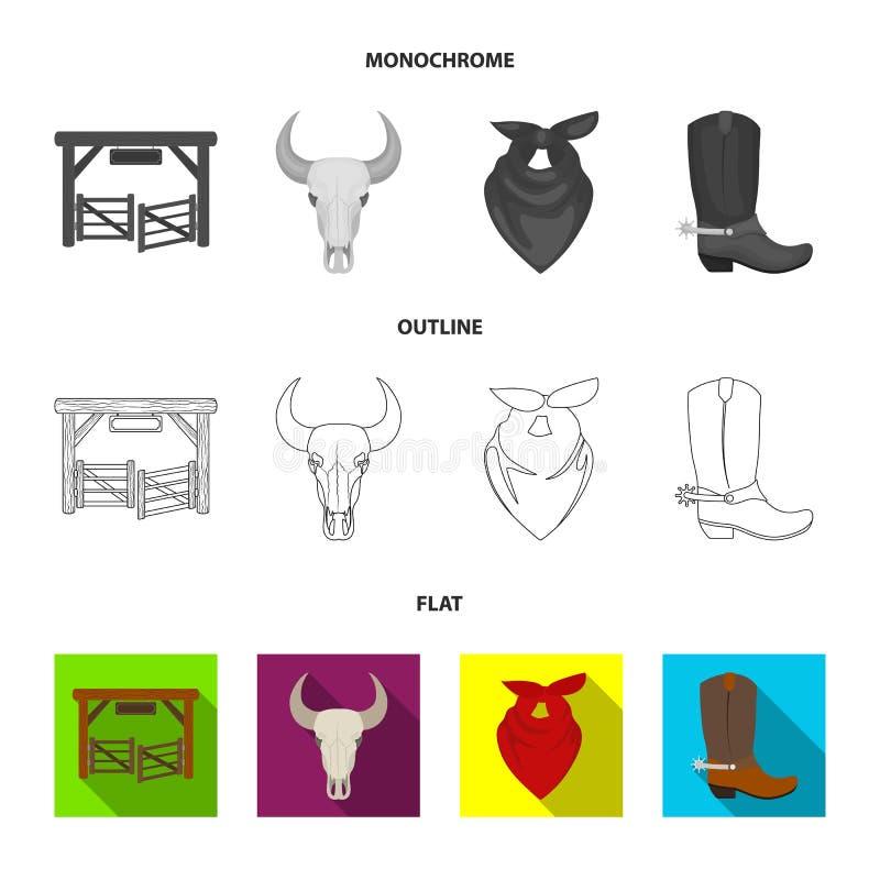 Poorten, een stierenschedel, een sjaal rond zijn hals, laarzen met aansporingen Pictogrammen van de rodeo de vastgestelde inzamel vector illustratie