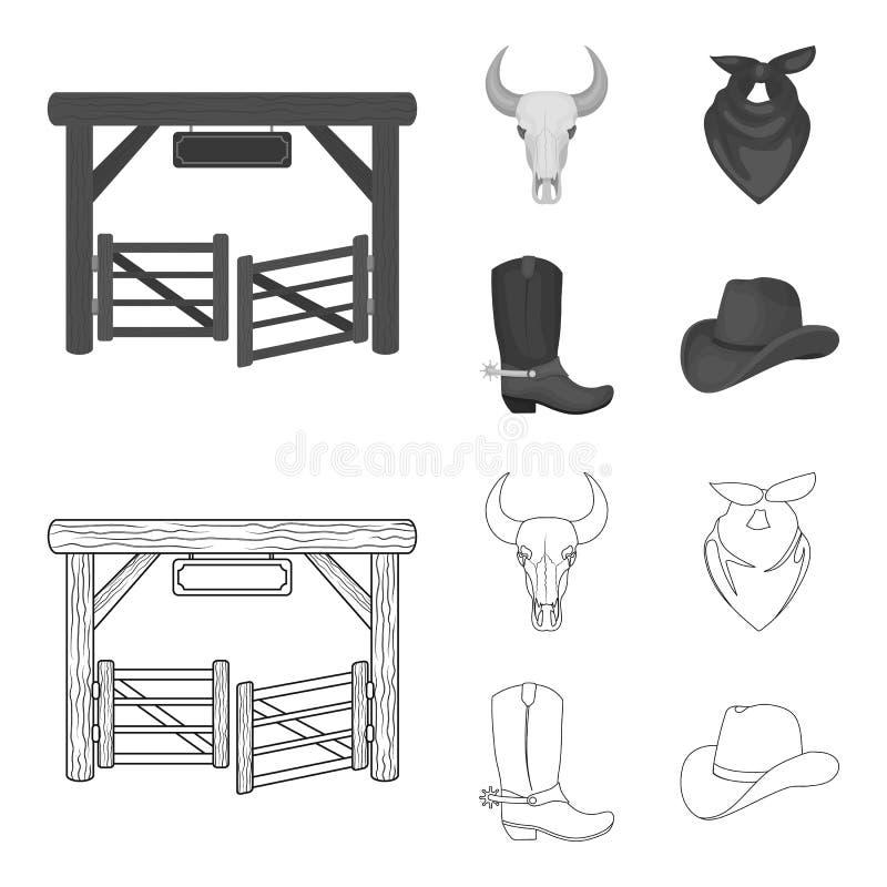 Poorten, een stierenschedel, een sjaal rond zijn hals, laarzen met aansporingen Pictogrammen van de rodeo de vastgestelde inzamel stock illustratie