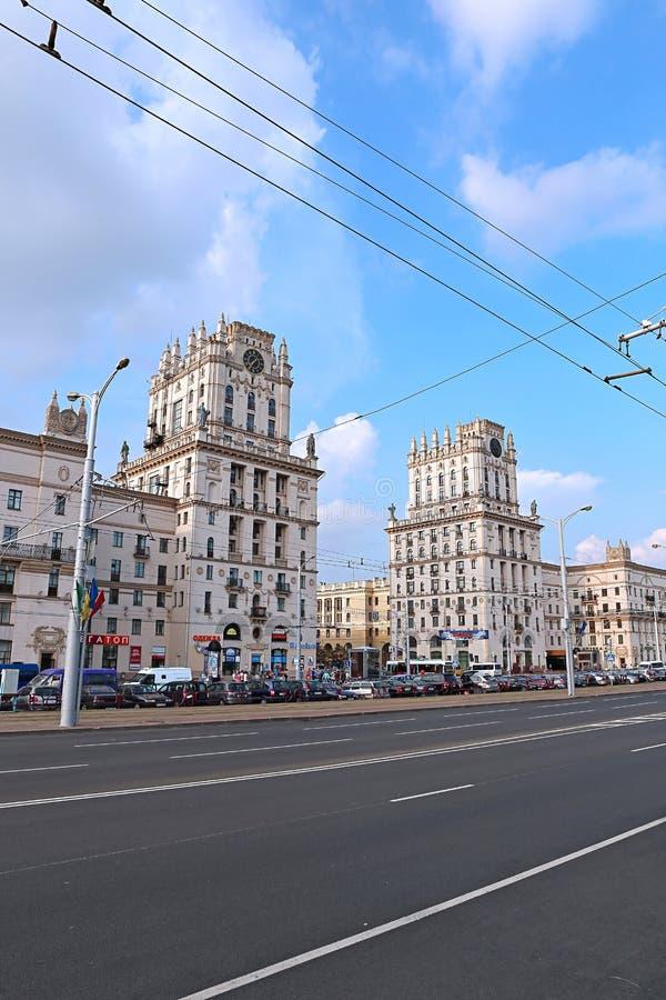 Poorten van de stad van Minsk - de elf verdiepingstorens stock foto's