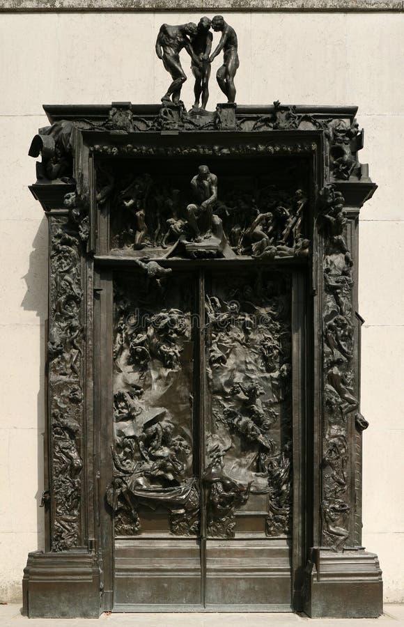 Poorten van Hel door Franse beeldhouwer Auguste Rodin stock foto