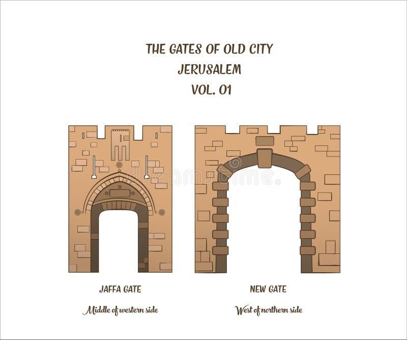 Poorten van Jeruzalem, Jaffa-Poort, Nieuwe Poort vector illustratie