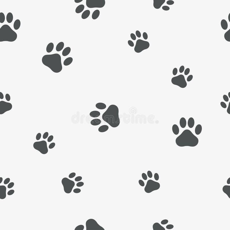 Poot naadloos patroon Achtergrond met voetafdruk van een dier - de kat, hond, draagt Vector vector illustratie