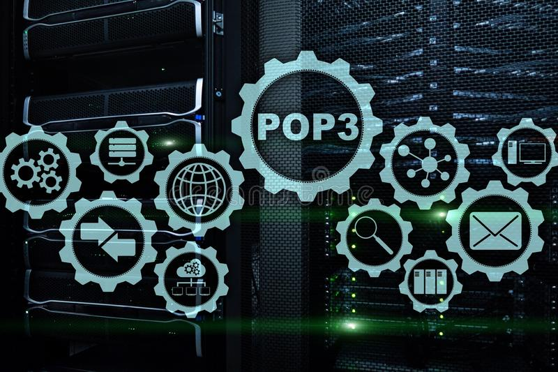POP3 Έκδοση 3 πρωτοκόλλου ταχυδρομείου Τυποποιημένο πρωτόκολλο Διαδικτύου σχετικά με το υπόβαθρο datacenter απεικόνιση αποθεμάτων