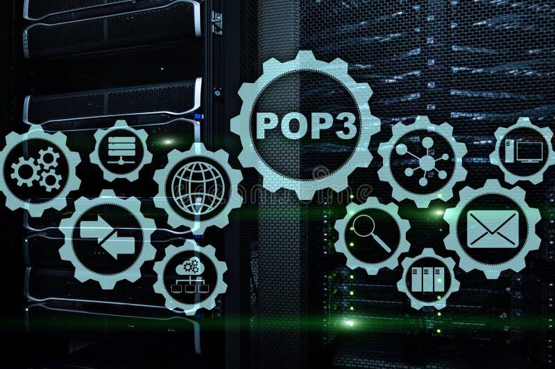 POP3 邮局协议版本3 在datacenter背景的标准互联网协议 库存例证