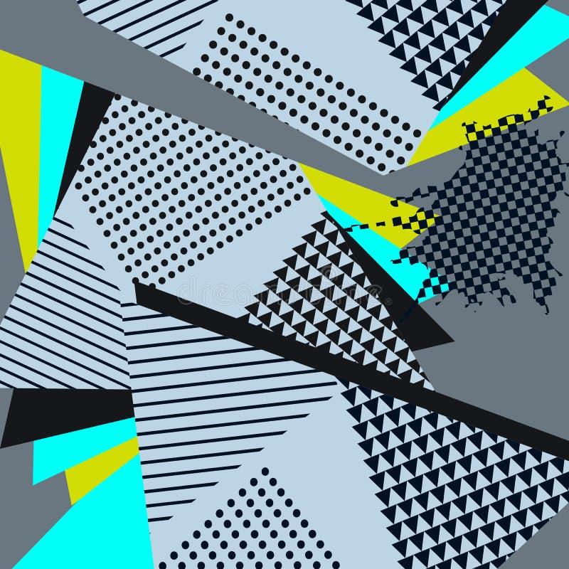Pop Art Abstract Geometric Collage Blue Pattern stock illustration