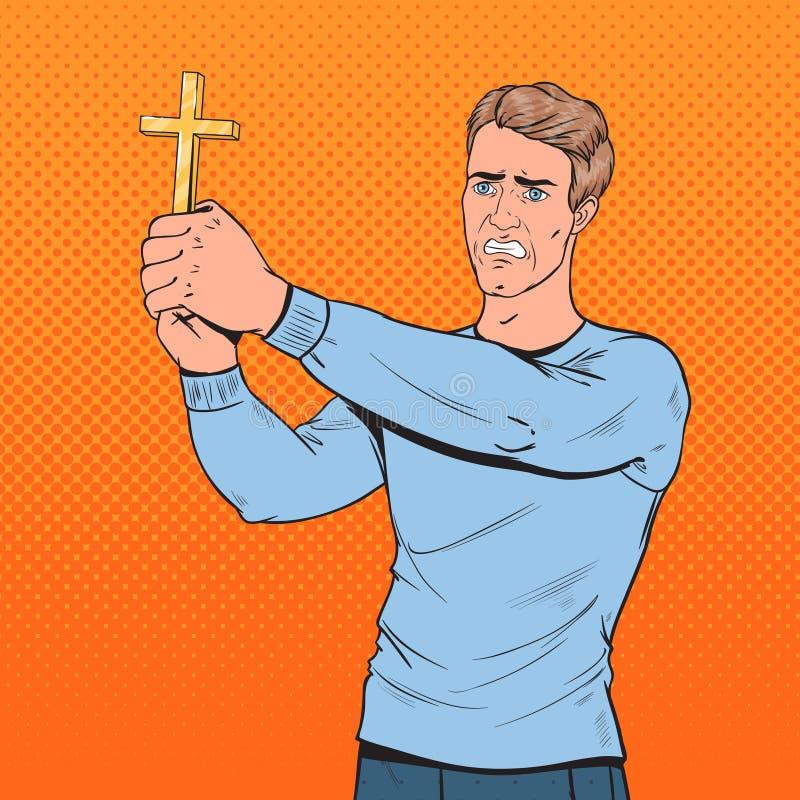 Pop Art Afraid Man Defending from Violence with Cross. Shocked Guy. Vector illustration stock illustration