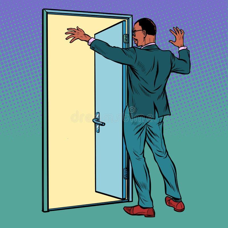 Pop art african man opens the door, greeting stock illustration