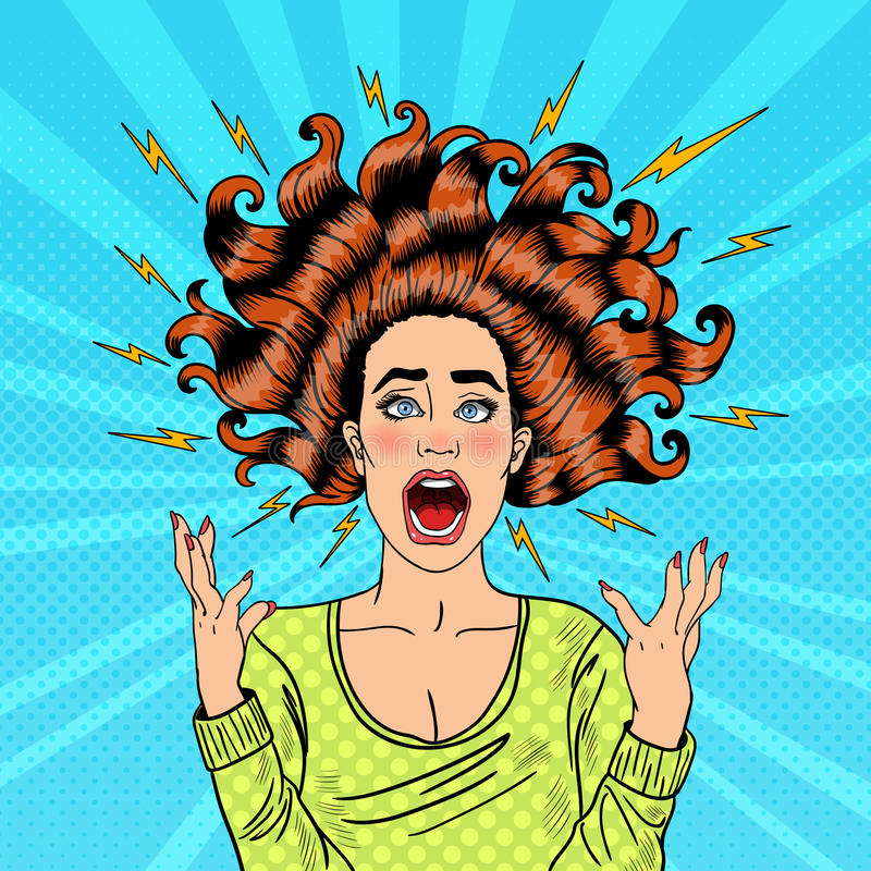 Pop Art Aggressive Furious Screaming Woman met Vliegend Haar en Flits vector illustratie
