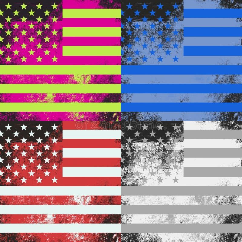 Pop Art American Flag Design. A grunge American flag pop art design vector illustration