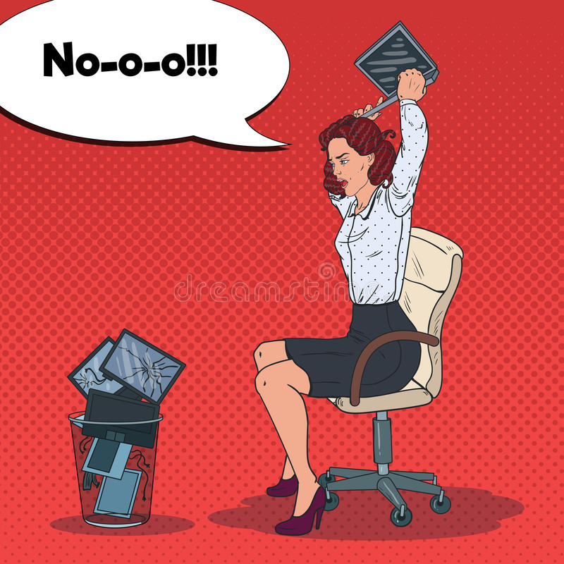 Pop Art Angry Business Woman Throwing Laptop to the Trash Bin. Stress at Work. Vector illustration stock illustration
